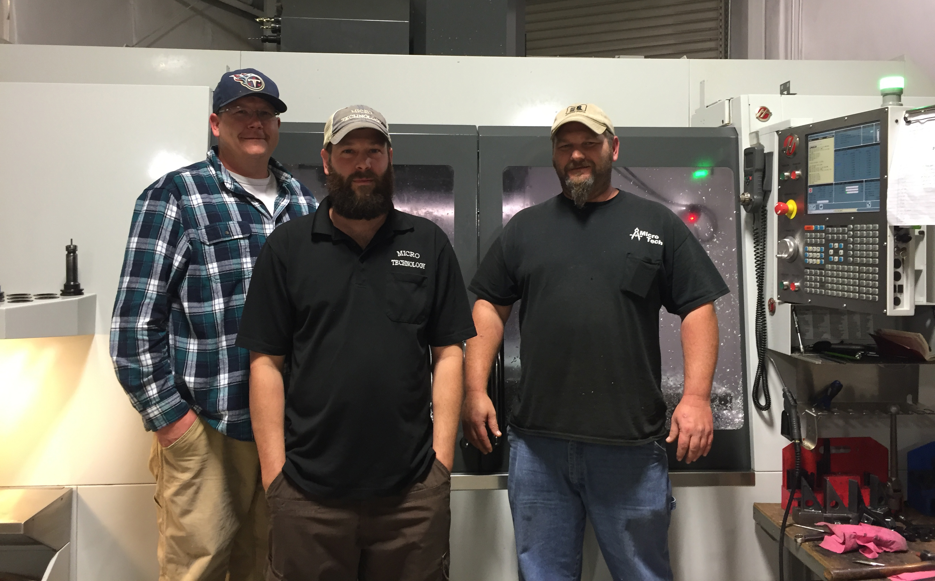 Pictured from left to right: Ted Pierce– Shop Foreman/ CNC Programmer; Charlie Wright, Jr. – General Manager; John Hargrove- Lead CNC Setup/Operator